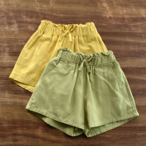 trousers Other / other female Light yellow, light green summer shorts leisure time No model Casual pants Leather belt High waist Pure cotton (100% content) Don't open the crotch Cotton 100% Class B Chinese Mainland