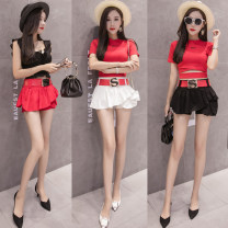 skirt Summer of 2018 S,M,L,XL Red, black, off white Miniskirt commute High waist Ruffle Skirt Solid color Type A 18-24 years old 81% (inclusive) - 90% (inclusive) Denim cotton Korean version