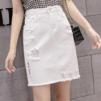 skirt Summer 2020 S,M,L,XL,2XL White, black [skirt] Short skirt Versatile High waist A-line skirt Solid color 25-29 years old 30% and below Other / other Holes, pockets, buttons, zippers, stitching