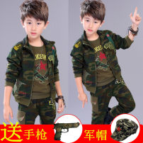 suit Other / other male spring and autumn leisure time Long sleeve + pants 3 pieces routine There are models in the real shooting Zipper shirt No detachable cap other Cotton blended fabric children Giving presents at school Class A 2, 3, 4, 5, 6, 7, 8, 9, 10, 11, 12, 13, 14 years old