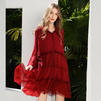 Women's large Spring 2021 Red, black Big size average shirt singleton  commute easy thin Cardigan Long sleeves Solid color lady Polo collar Medium length other Collage routine Oulun Miaoyu 35-39 years old Lace stitching 96% and above Hollowing out