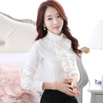 shirt S,M,L,XL,2XL,3XL,4XL,5XL Spring of 2018 polyester fiber 81% (inclusive) - 90% (inclusive) Long sleeves commute Regular Lotus leaf collar Single row multi button puff sleeve Solid color 25-29 years old Self cultivation Korean version Gouhua hollow
