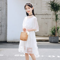 Dress White dress lace, blue dress lace, beige pearl, pink pearl, red pearl, pink Sequin, blue Sequin female Other / other 110cm,120cm,130cm,140cm,150cm,160cm,170cm Cotton 100% summer Korean version Short sleeve Solid color nylon Princess Dress Xisheng Class B Chinese Mainland Guangdong Province