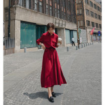 Dress Autumn 2020 Black, red S,XL,L,M longuette singleton  Long sleeves Polo collar High waist Solid color Single breasted A-line skirt shirt sleeve Others 18-24 years old Splicing other polyester fiber