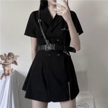 Dress Summer 2020 Small black skirt with belt S,M,L Short skirt singleton  Short sleeve tailored collar High waist double-breasted routine 31% (inclusive) - 50% (inclusive) polyester fiber