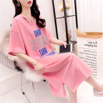 Women's large Summer 2020 White, black, pink, green, blue, black, pink Big XL, big XXL, big XXXL, big L, big M, big s, collect, pay attention to the store, there are gifts Dress singleton  commute easy moderate Socket Short sleeve letter Korean version Crew neck Medium length cotton routine