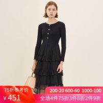 Dress Spring 2021 Charcoal black XS S M L XL XXL longuette singleton  Long sleeves commute Crew neck High waist Solid color Socket A-line skirt routine 30-34 years old Type A Emoo / Yangmen Splicing 01L032248 31% (inclusive) - 50% (inclusive) knitting nylon Viscose (viscose) 65% polyamide (nylon) 35%