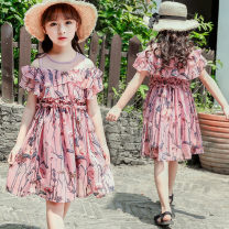 Dress Pink smoke grey white female Minnie Polyester 100% summer Korean version Short sleeve Broken flowers Chiffon A-line skirt XQZ211 Class B Summer of 2018