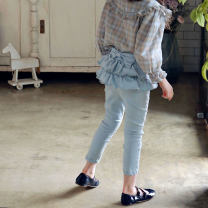 trousers Other / other female 90cm,100cm,110cm,120cm,130cm,140cm,150cm Light denim skirt, deep denim skirt spring and autumn trousers Korean version Official pictures Jeans Leather belt middle-waisted Cotton denim Don't open the crotch Cotton 90% other 10% K676 Class B K676 Chinese Mainland