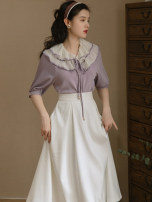 Dress Summer 2021 Two piece suit [purple top, white skirt] S,M,L Mid length dress Two piece set Short sleeve commute High waist Solid color A-line skirt Others Type A Retro Stitching, strapping, buttons 91% (inclusive) - 95% (inclusive) Poplin