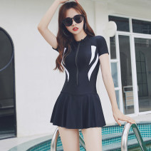 one piece  Ocnltiy M. L, XL, XXL, XXXL, 4XL (145-158 Jin), 5XL (158-170 Jin) black Skirt one piece With chest pad without steel support Spandex, polyester, nylon female Short sleeve Casual swimsuit Solid color