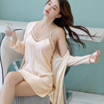 Nightdress Other / other Black, champagne, light pink, navy M,L,XL sexy Long sleeves pajamas Middle-skirt summer Solid color youth V-neck Polyester (polyester) 81% (inclusive) - 95% (inclusive)