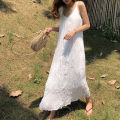 Dress Summer 2021 White, black S,M,L,XL,2XL,3XL longuette singleton  Sleeveless commute V-neck Loose waist Solid color Socket Pleated skirt camisole Type A Korean version Pleats, folds, waves Chiffon polyester fiber