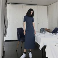 Dress Summer 2020 Navy, black, khaki S,M,L,XL longuette singleton  Short sleeve commute Crew neck Loose waist Solid color A-line skirt routine Others 30-34 years old Type H Other Korean version JJ-201 31% (inclusive) - 50% (inclusive) knitting cotton