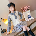 Dress The waistcoat plaid skirt cover is blue, and the waistcoat plaid skirt cover is khaki female Other / other Cotton 95% polyester 5% spring and autumn college Long sleeves lattice cotton A-line skirt Waistcoat plaid skirt cover