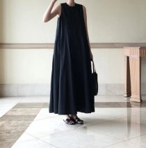 Dress Spring 2021 Black, Navy Average size longuette singleton  Sleeveless commute Crew neck High waist Solid color Socket A-line skirt routine camisole 18-24 years old Type A Korean version Splicing cotton