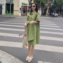 Dress Summer 2021 Fruit green S,M,L,XL Mid length dress singleton  Short sleeve Polo collar Loose waist Solid color Single breasted routine 18-24 years old Other / other