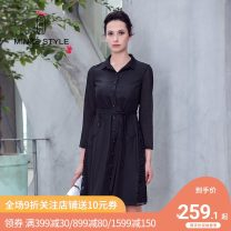Dress Spring of 2019 Black Lace Dress M L XL Mid length dress singleton  Long sleeves commute Polo collar middle-waisted Solid color Single breasted A-line skirt shirt sleeve Others 35-39 years old Type A Minze style / Mingshi Road Ol style Button TN827037 More than 95% Lace polyester fiber