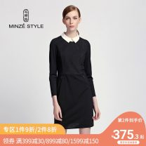 Dress Spring of 2019 88 black M L XL XXL Middle-skirt singleton  Long sleeves commute other middle-waisted stripe zipper One pace skirt routine Others 35-39 years old Type A Minze style / Mingshi Road Ol style knitting TN726030 91% (inclusive) - 95% (inclusive) polyester fiber