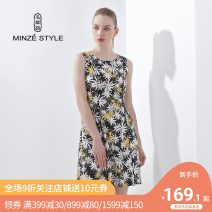Dress Spring of 2019 33 yellow 58 Turquoise L XL M Middle-skirt singleton  Sleeveless commute Crew neck middle-waisted Broken flowers zipper A-line skirt routine Others 40-49 years old Type A Minze style / Mingshi Road lady printing TTS727055 More than 95% hemp Flax 100%