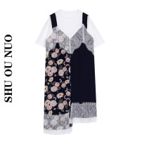 Dress Summer 2021 Color matching - in stock S, M longuette Fake two pieces Short sleeve street Crew neck Loose waist Big flower Socket Irregular skirt routine Others Type H Stitching, asymmetry, lace, printing 31% (inclusive) - 50% (inclusive) other polyester fiber Europe and America