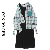 Dress Summer 2021 Color matching S, M Miniskirt Two piece set Long sleeves commute square neck High waist lattice Socket shirt sleeve Type H Pocket, button