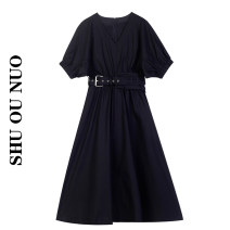 Dress Summer 2021 black S,M,L Miniskirt singleton  Short sleeve commute V-neck High waist Solid color Socket other puff sleeve Others Type A Retro 30% and below