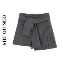 skirt Summer 2021 S,M,L Dark grey, black Short skirt Versatile Natural waist Irregular Solid color Type A Fold, asymmetry, strap, button, zipper