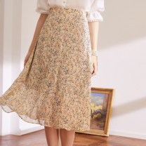 skirt Winter 2020 S,M,L printing Mid length dress commute High waist stripe Type A BQ00820 More than 95% other The magic magician of Oz polyester fiber