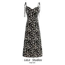 Dress Summer 2020 Decor S,M,L Mid length dress singleton  Sleeveless Sweet V-neck Decor A-line skirt camisole Type A Bow, print 51% (inclusive) - 70% (inclusive)