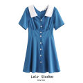 Dress Summer 2020 blue S,M,L Short skirt singleton  Short sleeve Sweet V-neck High waist Solid color Single breasted A-line skirt routine Type A Button 51% (inclusive) - 70% (inclusive) other