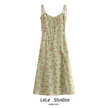 Dress Summer 2020 green S,M,L Mid length dress singleton  Sleeveless commute High waist Decor A-line skirt routine camisole Type A Bows, bandages, prints 51% (inclusive) - 70% (inclusive) other