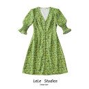 Dress Summer 2020 green S,M,L Short skirt singleton  Short sleeve street V-neck Decor Single breasted A-line skirt Type A Button, print 51% (inclusive) - 70% (inclusive) other