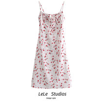 Dress Spring 2021 Decor L,M,S Mid length dress singleton  Sleeveless commute High waist Decor A-line skirt camisole Type A Print, bow 51% (inclusive) - 70% (inclusive) other
