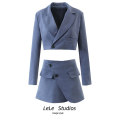short coat Autumn 2020 S,M,L 9444 blue grey suit, 9445 blue grey half skirt, 9444 army green suit, 9445 army green half skirt Long sleeves have cash less than that is registered in the accounts Two piece set Self cultivation Versatile routine tailored collar A button Solid color Button