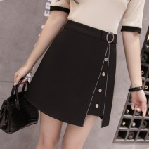 skirt Summer of 2018 XS,S,M,L,XL,2XL black Short skirt commute High waist A-line skirt Solid color Type A 18-24 years old 71% (inclusive) - 80% (inclusive) other nylon Korean version 101g / m ^ 2 (including) - 120g / m ^ 2 (including)
