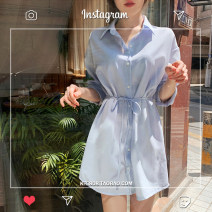 shirt blue S,M,L,XL Autumn 2020 other 31% (inclusive) - 50% (inclusive) Long sleeves commute Short style (40cm < length ≤ 50cm) Polo collar Single row multi button shirt sleeve Solid color 18-24 years old Korean version Tie, tie, bow
