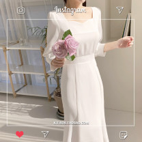 Dress Summer 2020 White, blue S,M,L,XL longuette singleton  commute square neck High waist Solid color zipper Korean version Bow, tie, tie