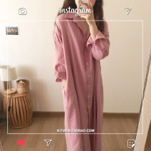 Dress Autumn of 2019 Pink, blue S,M,L,XL longuette singleton  Long sleeves commute Polo collar Loose waist Solid color Single breasted shirt sleeve Other / other Korean version Pocket, button 81% (inclusive) - 90% (inclusive)