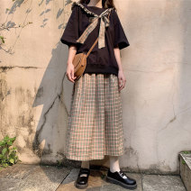 Women's large Summer 2020 Navy collar top, plaid skirt, Navy collar Top + plaid skirt M (80-100kg), l (100-120kg), XL (120-140kg), 2XL (140-160kg), 3XL (160-180kg), 4XL (180-200kg) Other oversize styles Two piece set commute easy moderate Socket Short sleeve lattice Korean version Admiral Collage bow
