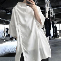 shirt Youth fashion those days S,M,L,XL White, black routine other elbow sleeve easy Other leisure summer youth Polyethylene terephthalate (polyester) 100% tide 2021 Solid color Color woven fabric other polyester fiber other Soft Gloss  More than 95%