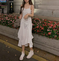 Dress Spring 2021 White [collection and purchase first delivery], black [collection and purchase first delivery] XS,S,M,L,XL longuette singleton  Sleeveless street One word collar High waist Solid color Socket other routine camisole 18-24 years old Type A More than 95% other cotton Sports & Leisure