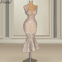 Dress / evening wear Wedding, party, company annual meeting, performance, routine, date No return and exchange of customized products - free size modification Champagne Retro Medium length middle-waisted Winter 2020 fish tail zipper Other materials 26-35 years old Sleeveless