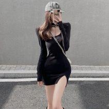 Dress Winter 2020 White, black Average size Short skirt singleton  Long sleeves commute other High waist Socket routine Korean version