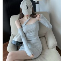 Dress Autumn 2020 Gray, black Average size Short skirt singleton  Long sleeves commute High waist Solid color Oblique shoulder Korean version Asymmetry