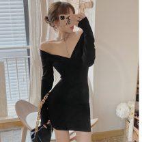 Dress Winter 2020 Black, pink Average size Short skirt singleton  Long sleeves V-neck High waist Socket routine Asymmetry
