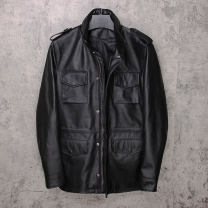 leather clothing Others Fashion City black S,M,L,XL,2XL,3XL,4XL(190),5XL(195),6XL(200) Medium length Leather clothes stand collar Straight cylinder zipper winter leisure time middle age top layer leather Business Casual Cloth hem Digging bags with lids Waist drawstring