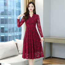 Dress Autumn 2020 Red, blue, black M,L,XL,2XL,3XL,4XL Mid length dress singleton  Long sleeves commute V-neck High waist Solid color Socket A-line skirt routine Others Type A Korean version Gouhua hollowed out, lace, 3D polyester fiber
