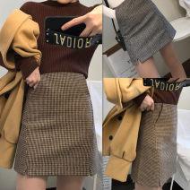 skirt Autumn of 2018 S,M,L,XL,2XL,3XL,4XL Short skirt commute High waist A-line skirt houndstooth  Type A other Pocket, tridimensional decoration, zipper Retro