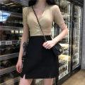 skirt Summer 2020 M,L,XL,2XL,3XL,4XL black Short skirt Versatile High waist A-line skirt Solid color Type A other Zipper, split
